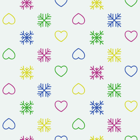 Colorful snowflakes and hearts - vector background