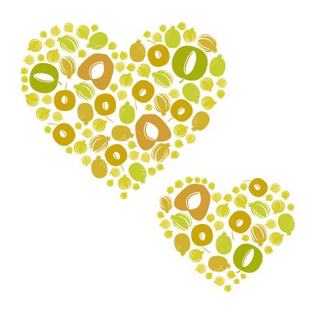 Various fruit hearts - vector illustration