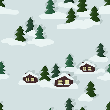 Winter landscape with cottage - vector illustration