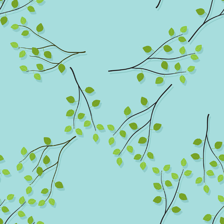 Birch branches on light blue background - vector background