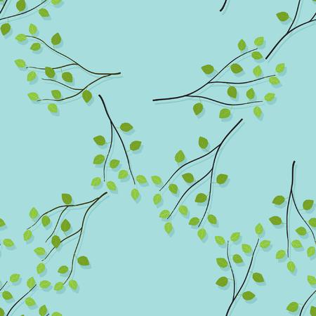 Branches de bouleau sur fond bleu clair - vector background Vecteurs