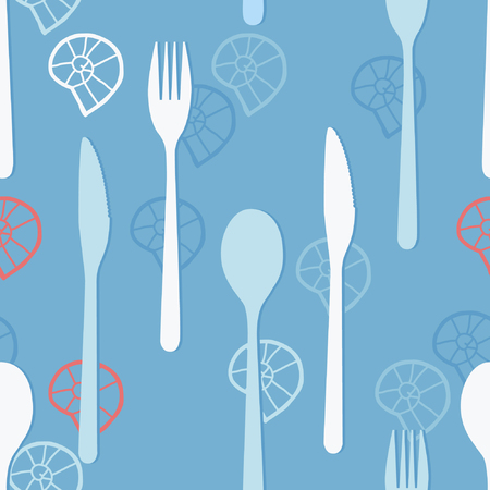 Cutlery and snail conchs on light blue background - vector background