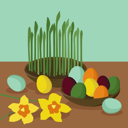 Colored eggs and growing wheat - vector illustration