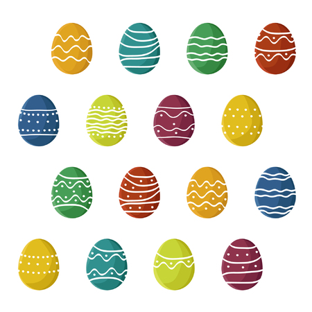 Set of colorful Easter eggs - vector illustration