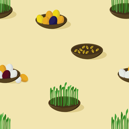 Bowls with colored eggs and growing grains - vector illustration Illustration