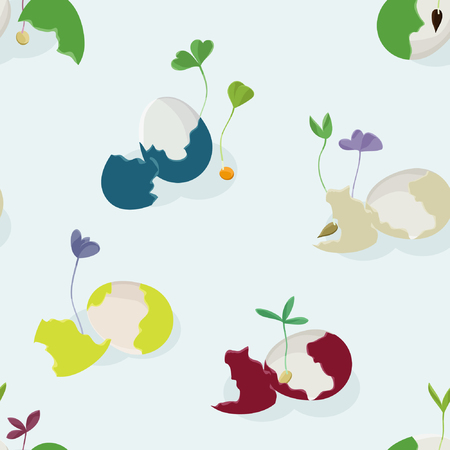 Broken colored eggs with growing sprouts - vector illustration Ilustração
