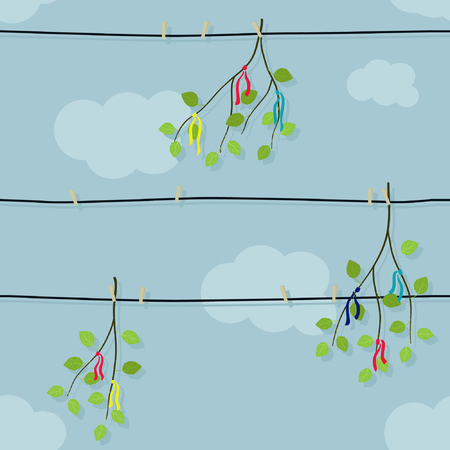Birch branches hanging on the clothesline - vector illustration