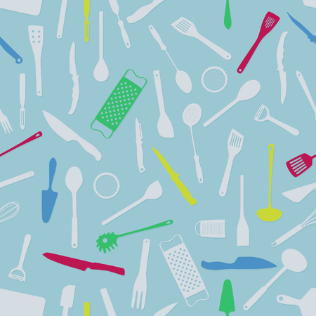 Various kitchen tools - vector background