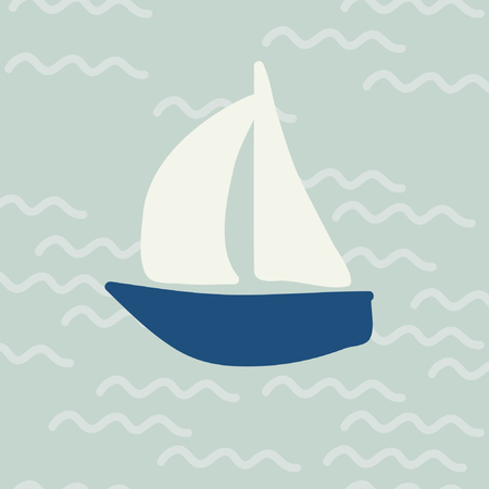 Yacht and sea waves - vector illustration