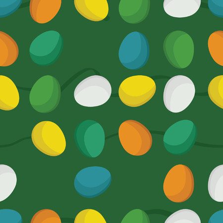 Colorful Easter eggs on a green background - vector background