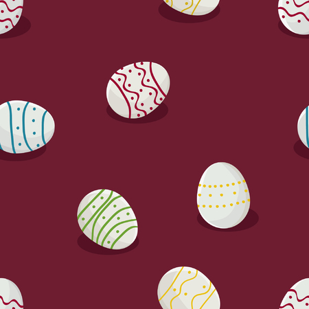 White Easter eggs on a red background - vector background