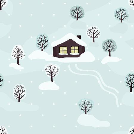 Winter landscape with a cabin - vector illustration Ilustração