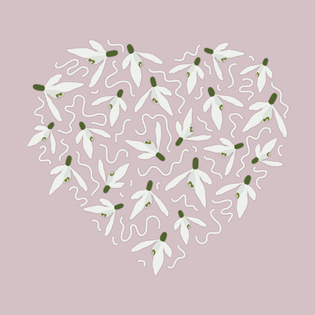 Heart made from snowdrop blossoms - vector illustration