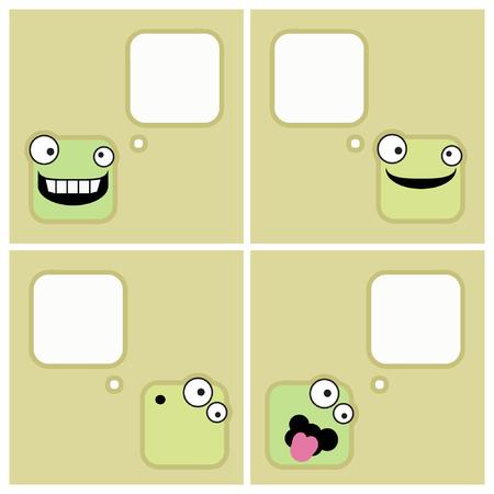 Square emoticon with speech bubble - vector illustrations