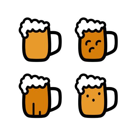 A glass of beer set - vector illustration