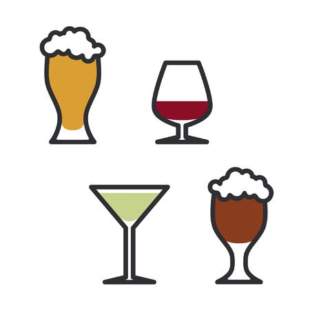 Set of outline alcohol drinks - vector illustration Ilustração