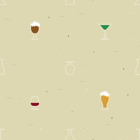 Outline alcohol drinks - vector background