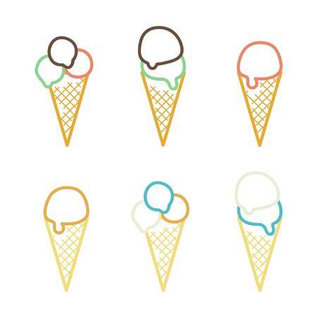 Set of outline ice cream cones - vector illustration Ilustração