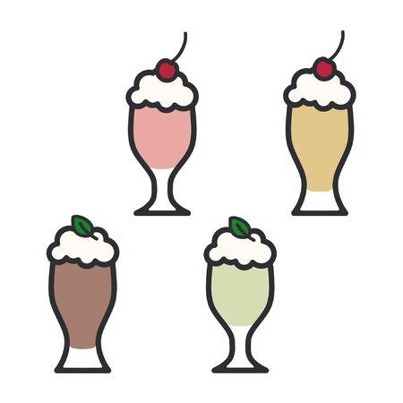 Strawberry, vanilla, mint and chocolate milkshake - vector illustration Ilustração