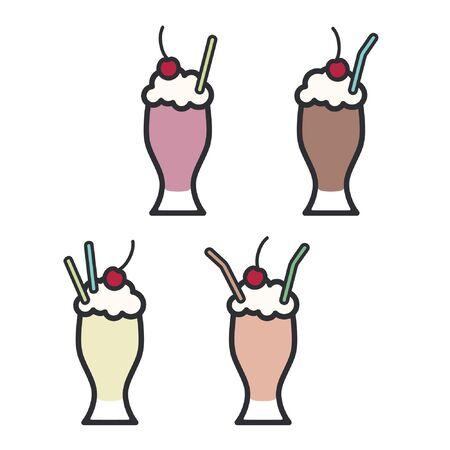 Set of various milkshakes - vector illustration Ilustração