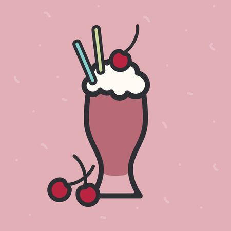 Cherry milkshake on a pink background - vector illustration