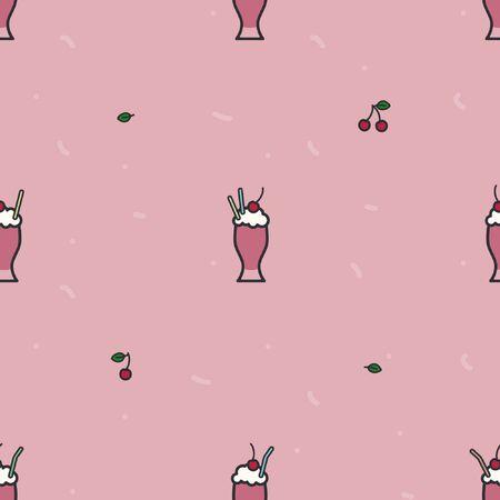 Cherry milkshake on a pink background - vector background