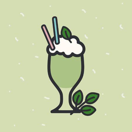 Mint milkshake on a light green background - vector illustration