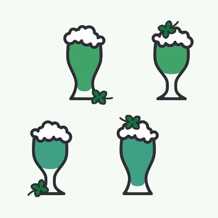 Set of glasses with green beer - vector illustration