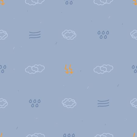 Clouds, rain and lightning background - vector background