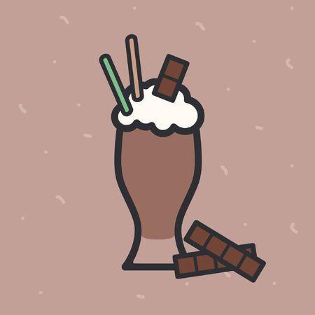Chocolate milkshake on a light brown background - vector illustration Ilustração