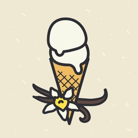 Vanilla ice cream cone - vector illustration Ilustração