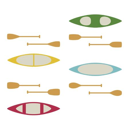 Canoe types set - vector illustration