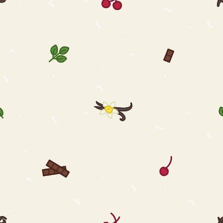 Cherry, vanilla, chocolate and mint leaf - vector background Ilustração