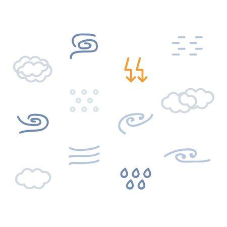 Storm symbols set - vector illustration