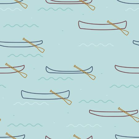 Outline canoes on the water - vector background Çizim