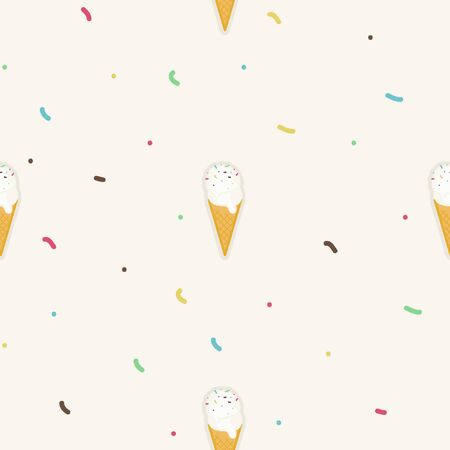 Ice cream cone and sprinkles - vector background