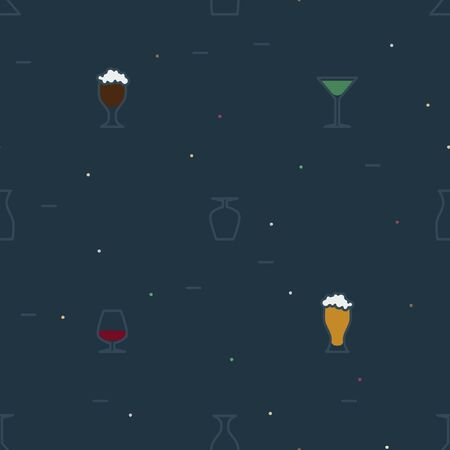 Outline alcohol drinks on a dark background - vector background