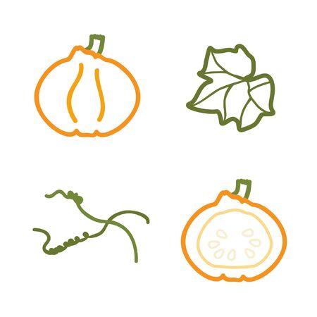 Outline pumpkin set - vector illustration