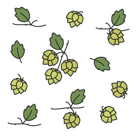 Hop plant set - vector illustration