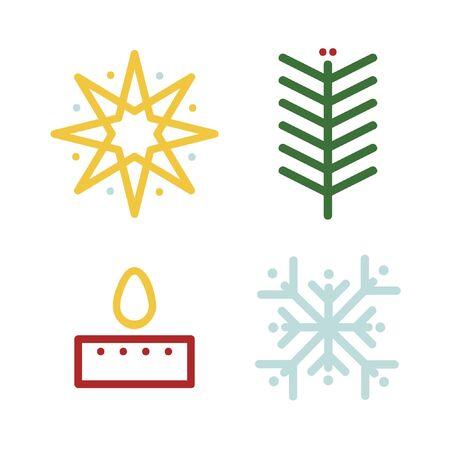 Christmas symbols set - vector illustration