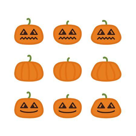 Halloween pumpkins set - vector illustration