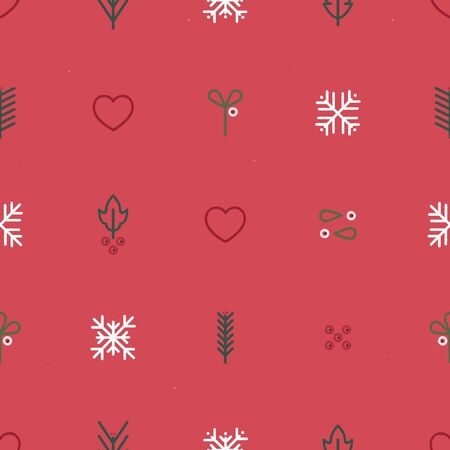 Holly, mistletoe, fir and snowflakes - Christmas theme background Ilustração