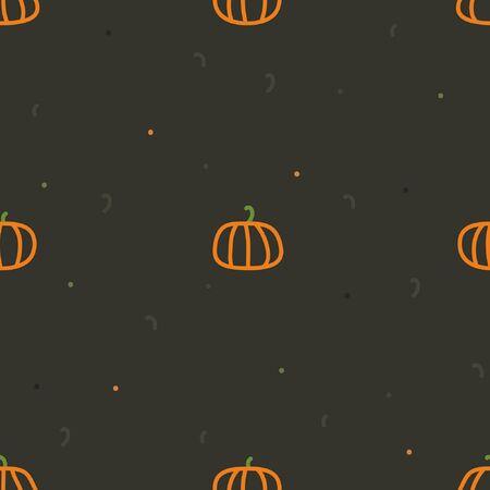 Outline pumpkins on a dark background - vector background Ilustração