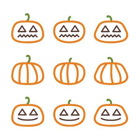 Outline Halloween pumpkins - vector illustration Ilustração