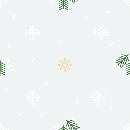 Star, snowflake and fir twig - Christmas theme background