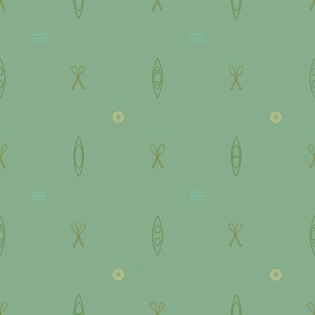 Canoe and crossed paddles background - vector background