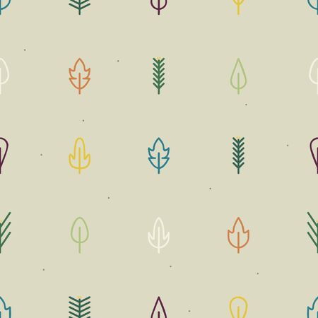 Outline leaves and conifer twigs - vector background 일러스트