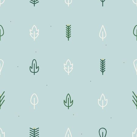 White leafs and conifer twigs - Winter theme background 일러스트