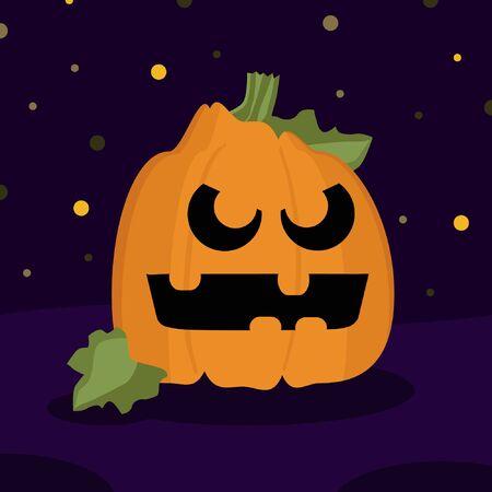 Halloween pumpkin on a dark background - vector illustration 일러스트