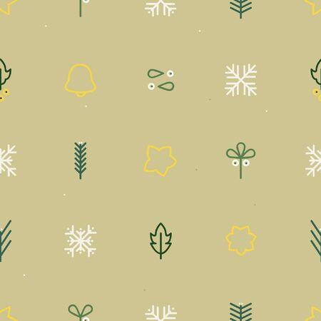 Mistletoe, spruce, star and bell - Christmas theme background